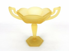 "Westmoreland Satin Glass Trophy Shaped Compote ""W G"" Foil Sticker Gold S... - $28.37"