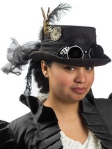 Deluxe Velvet 4.25 Inch Steampunk Top Hat with Removable Goggles Black - €16,80 EUR