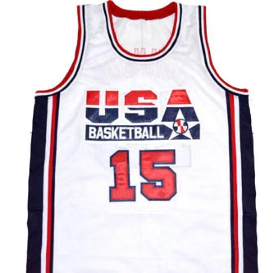 Magic johnson  15 team usa basketball jersey white 1