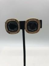 Gorgeous Vintage SAL Signed Goldtone Black Clip On Earrings - $39.59