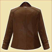 Retro Big Lapel Brown Faux Leather Oblique Zipper Motorcycle Jacket image 4