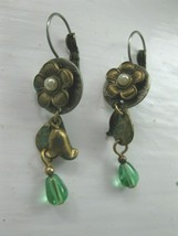 Vintage Flower with Pearl Center Green Stone Earrings Pierced Dangle - $11.14