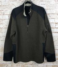 Columbia Pullover Jacket Fleece Heather Brown Black Trim Sherpa At Neck Men's L - $22.77
