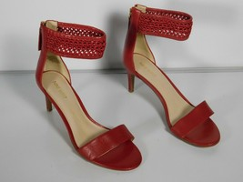 Nine West Red Jilted Ankle Strap Women's Heeled Sandals Size 8 M Leather - $39.60