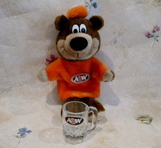 Vintage A&W Root Beer Rootbeer TEDDY BEAR PUPPET Mug Large Oval Logo Chi... - $24.95