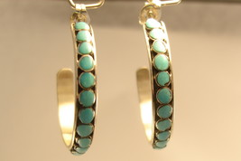 Earrings Zuni sterling silver and turquoise hoops - $90.00