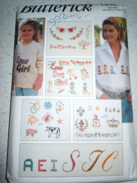 Butterick Embroidery Transfers  #6821 New