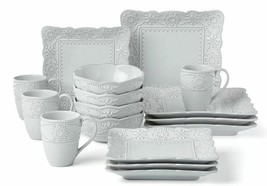 lenox French Carved Square 16-Piece Decorated Scalloped Dinnerware Set f... - $239.99