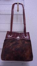American West  Brown Cow Skin Leather Tote Handbag Clip Closure Shoulder... - $69.00