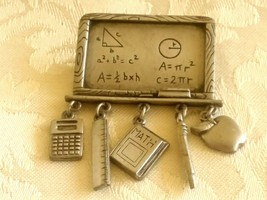 Vintage Signed JJ Petwer Teacher Chalkboard Dangling Charms Pin Brooch - $6.00