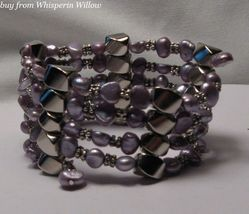 Lavender Pearl & Extra Strength Magnetic Hematite Lariat - $24.00