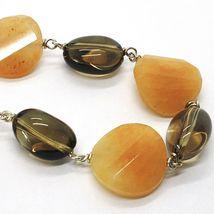 Halskette Silber 925, Jade Braun Disco Wellig, Quarz Rauchquarz Oval image 3
