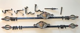 VTG Art Deco Nouveau Style Curtain Rods Cast Metal Torch Flame Painted (... - $124.65