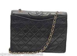 Vintage Chanel Black Lambskin Flap Bag Gold Chain Strap Shoulder Bag 1989 - $1,579.05