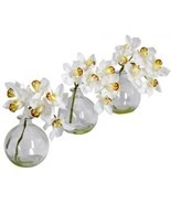 Nearly Natural 4797 Cymbidium With Vase Silk Flower Arrangement, White, ... - $68.49 CAD