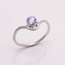 NATURAL TANZANITE EYE CLEAN 5 MM ROUND 925 STERLING SILVER RING US 5.75 - £14.22 GBP