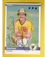 ELIAS SOSA AUTOGRAPHED CARD 1983 FLEER SAN DIEGO PADRES INSCRIBED - $4.48