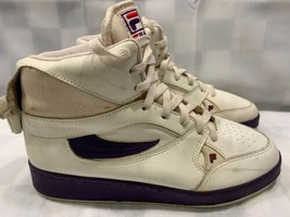 Vintage FILA High Top Sneakers Women's Shoes Size 9.5 White Purple 5-836... - $55.82