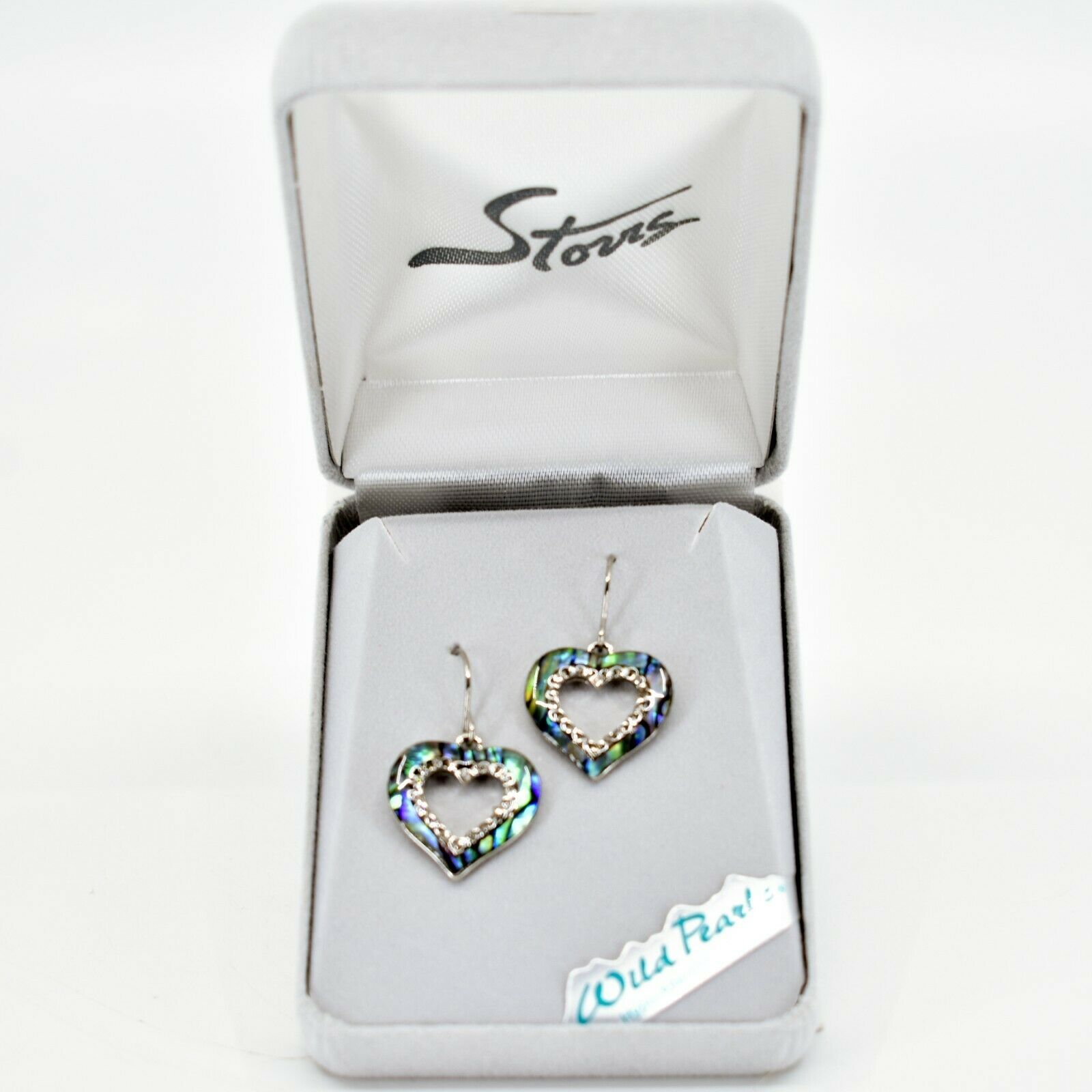 A.T. Storrs Wild Pearle Abalone Shell Sparkling Hearts Love Hook Earrings