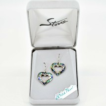 A.T. Storrs Wild Pearle Abalone Shell Sparkling Hearts Love Hook Earrings image 1