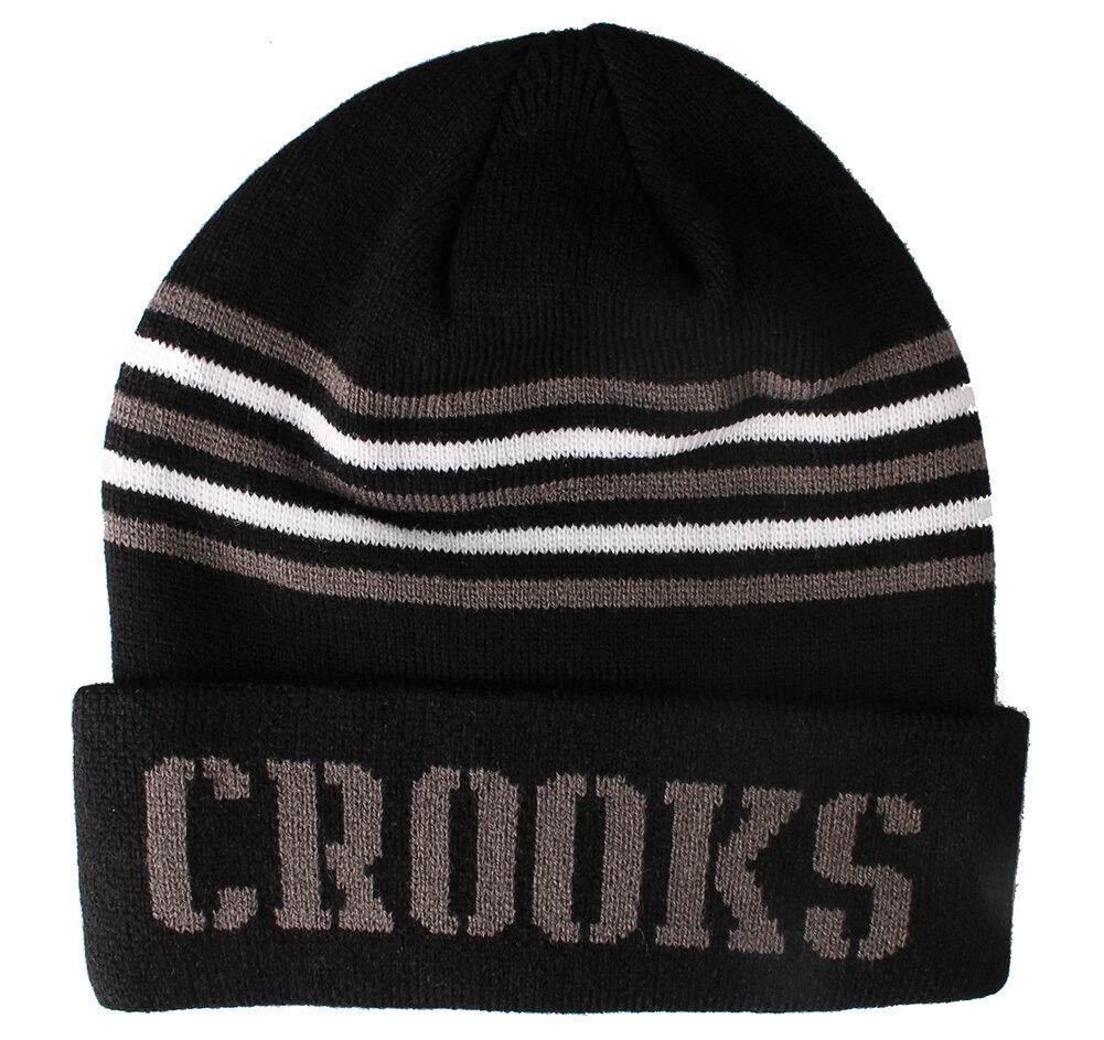 Crooks and Castles Mens Core Striped Knit Beanie NWT