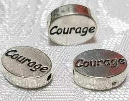 COURAGE WORD FINE PEWTER OVAL DISC BEAD - 11mm L x 9mm W x 3mm D
