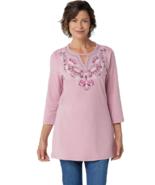 Denim & Co. Medium Round Neck 3/4-Sleeve Tunic with Neck Detailing Rose Blush M - $18.52