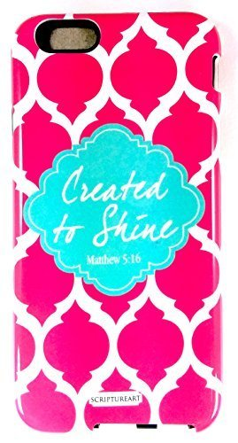 """Scripture Art Brooke Coral """"Created To Shine"""" Two Piece iPhone 6 Tough Case Moro"""