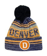 Denver D Patch Fade Out Cuffed Knit Winter Pom Beanie Hat (Navy/Orange) - $11.95