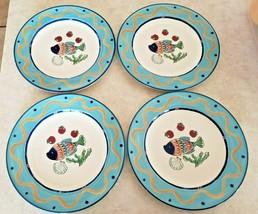 "Mikasa Studio Nova ""Ocean Collage"" 4 Dinner Plates CA059 Fish Sea Blue E... - $93.50"