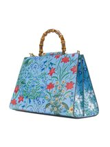 Gucci Flora Azure Shanghai Blue Large Floral Handbag Italy Bag Handbag F... - $6,449.99