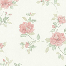 In Register Rose Trail Wallpaper Ivory, Blush, Pink Norwall Wallcovering... - $34.99