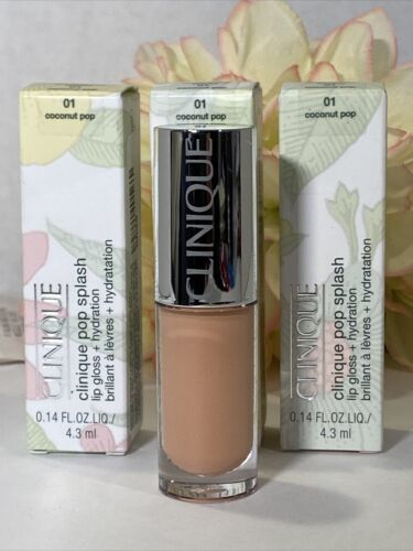 Primary image for NIB (3) CLINIQUE POP SPLASH 01 Coconut Pop -  FULL SIZE - Gloss + Hydration Free