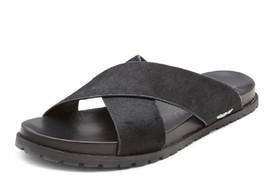 DKNY Men's Black Steph Haircalf Leather Sandal  SIZE  6 US 36 EUR - $55.04 CAD