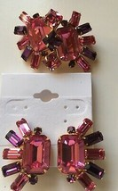 Vintage Signed Original by Robert Pink & Purple Pin & Clip On Earrings Set - $92.07