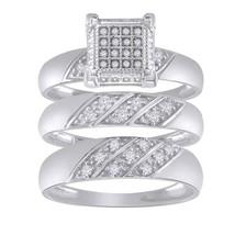 1.42 Cttw Round Diamond 14k White Gold Over Bridal Set Trio Engagement Ring - $169.89