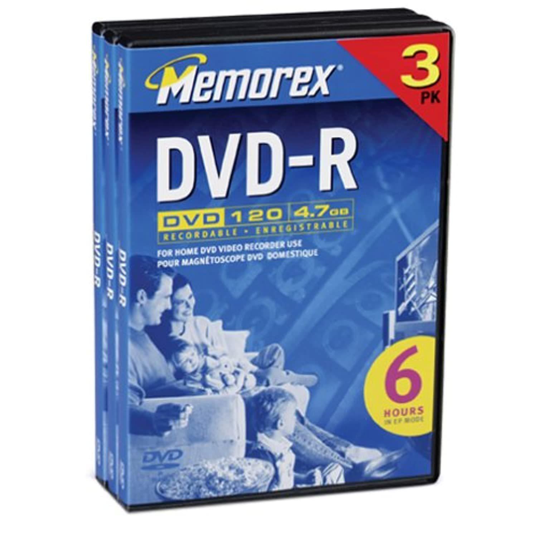 Memorex 4.7GB DVD-R Media (3-Pack) - $17.99
