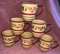 "SET OF 6 HOME TARGET Yellow Burgundy Flowers & Leaves COFFEE MUGS 4.5"" Cup - $34.64"