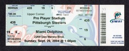 2004 STEELERS @ DOLPHINS Full Ticket - BIG BEN TD #3 - POLAMALU 1st INTE... - $48.28