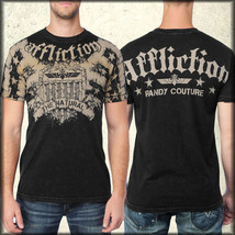Affliction Randy Couture Veteran A7195 UFC MMA Shield Mens TShirt Black ... - $46.39