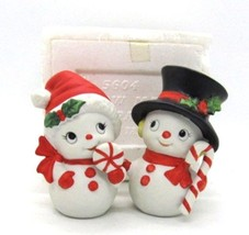 Homco Snowman & Snowlady with Candy Cane Pair #5604 Vintage Never Displayed - $18.99