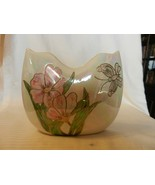 Vintage Opalescent White Ceramic Flower Vase With Flowers and Butterfly - $74.25