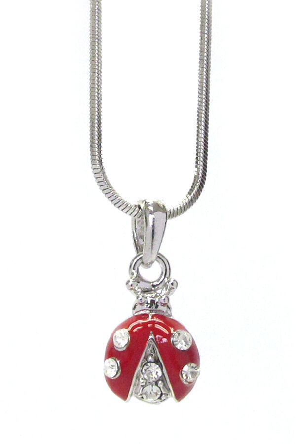 Primary image for Lady Bug Pendant Necklace White Gold NEW
