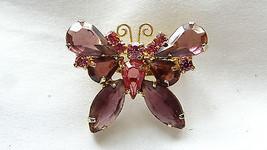 Vintage D&E Juliana Rose Amethyst Open Back Rhinestone Butterfly Brooch - $49.99