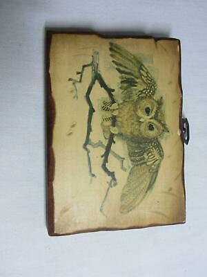 2 Vintage Retro Wood Wall Hanging Plaque Decor Painted Owl Figures Dove Calif