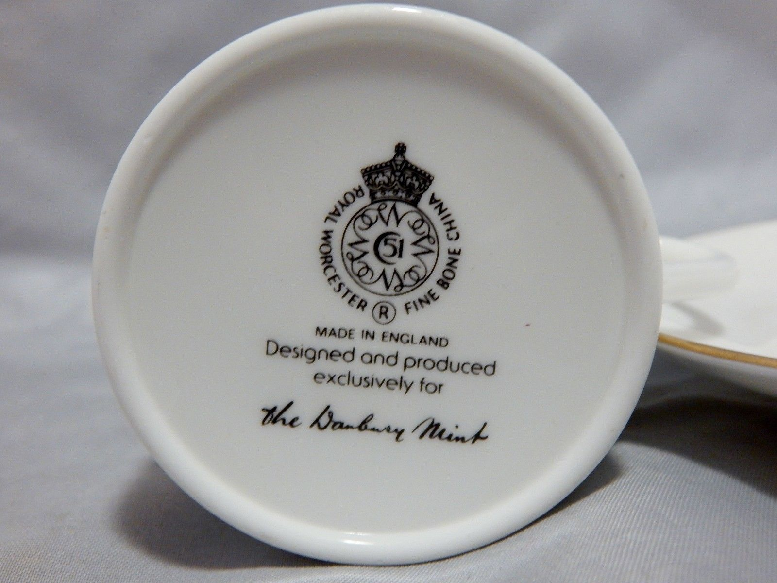 Royal Worcester Danbury Mint Demitasse Cup and Saucer Set
