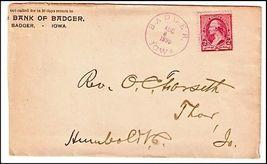 1890 Badger IA Vintage Postal Cover - $9.95