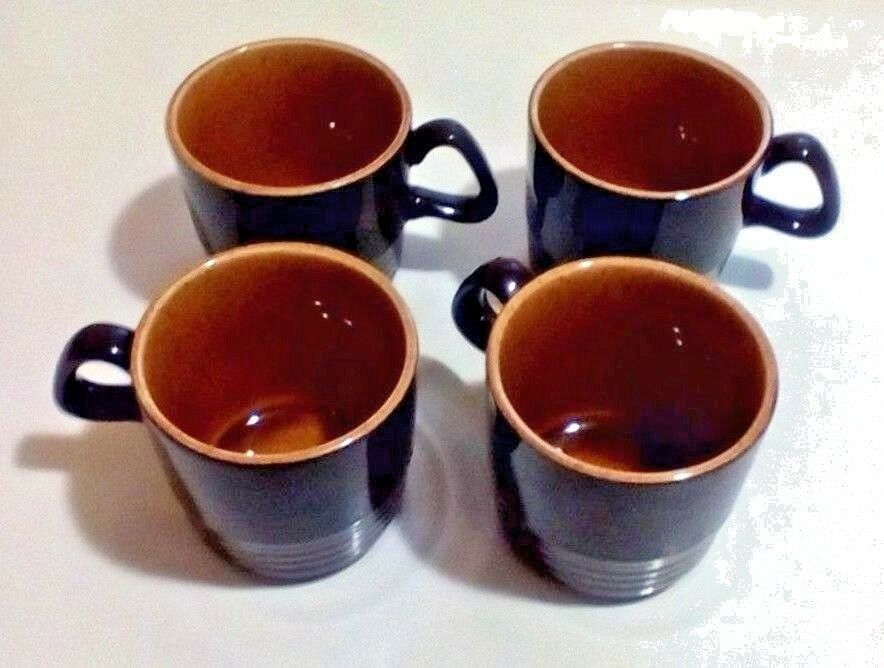 Primary image for Vintage Brown Coffee Tea Cups Inside Tan Speckled Set Of 4 Mugs