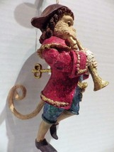 Monkey Playing Horn Christmas Ornament Tri-Corner Hat Gold Glitter - $19.79