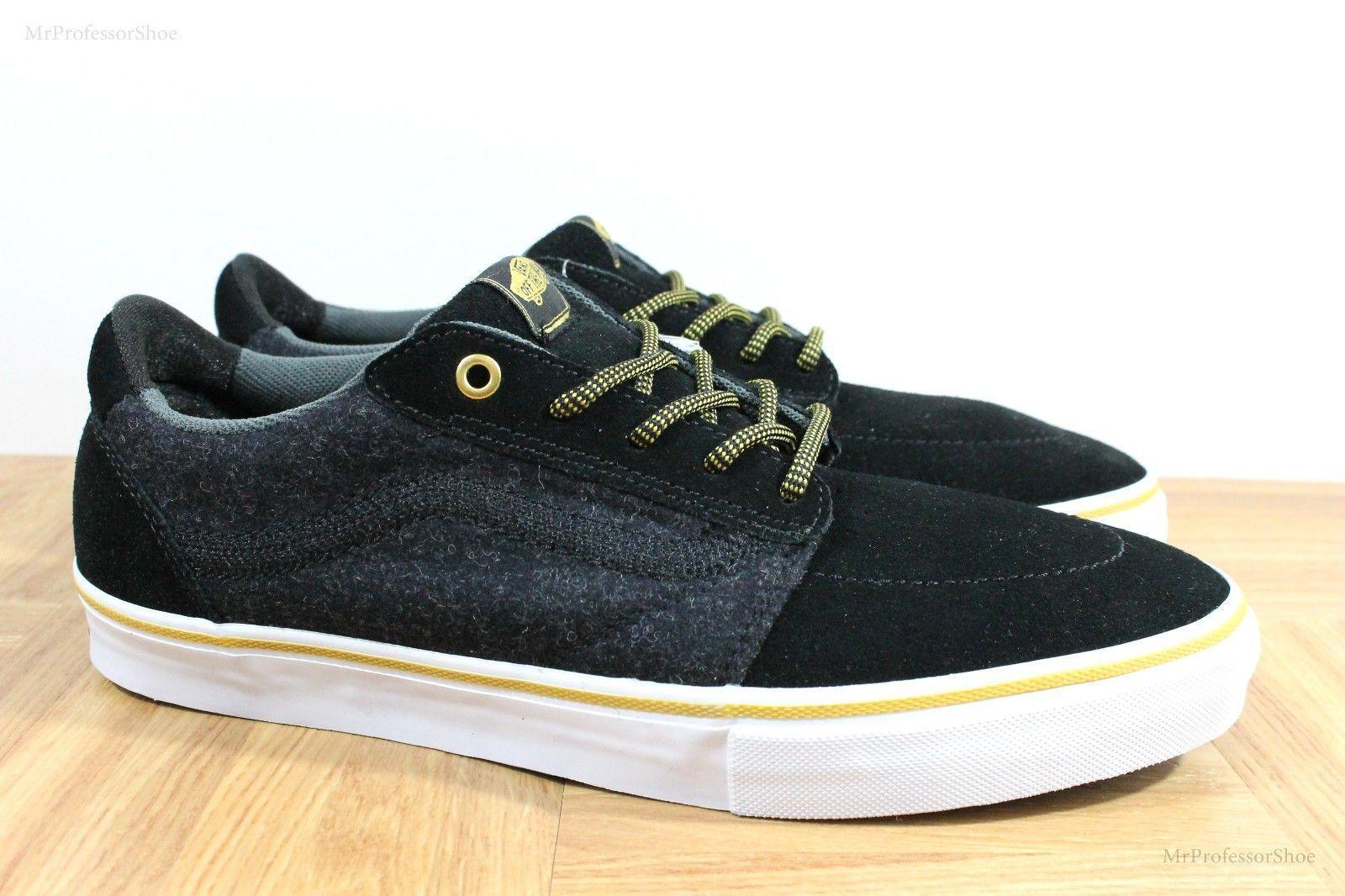 Vans Lindero (Wool) Black/Gold Skate Shoes MEN'S 7.5 WOMEN'S 9